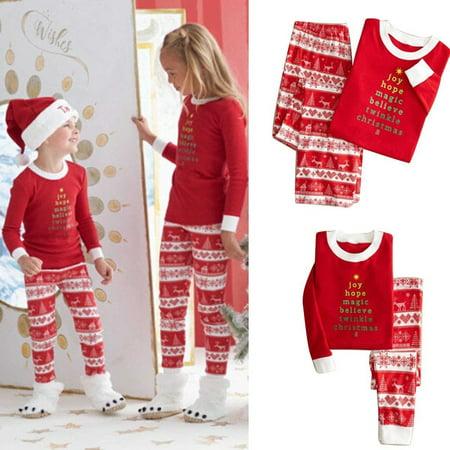Christmas Family Matching Pajamas Set Adult Mens Womens Kids Sleepwear Nightwear (Matching Pijamas)