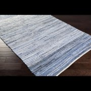 3.5' x 5.5' Simply Striped Blue, White and Gray Reversible Hand Loomed Recycled Denim Throw Rug