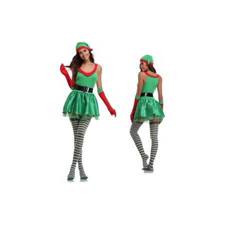 Women's Sexy Elf Christmas Costume 4 Piece set