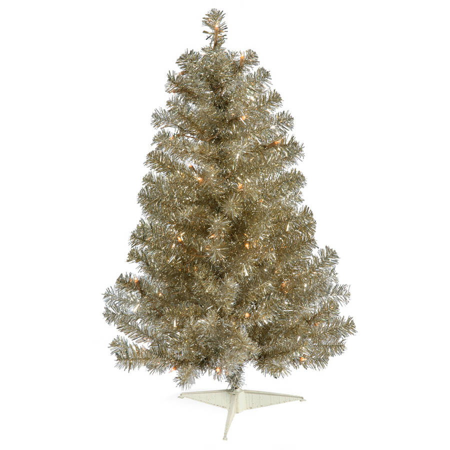 Vickerman 3' Champagne Artificial Christmas Tree with 50 Warm White LED Lights