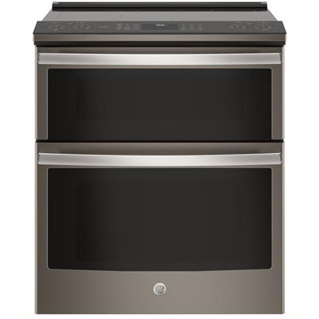 """GE Profile Slate PS960ELES 30"""""""" Slide In Electric Double Oven Convection Range with 6.6 cu. ft. Total Capacity"""