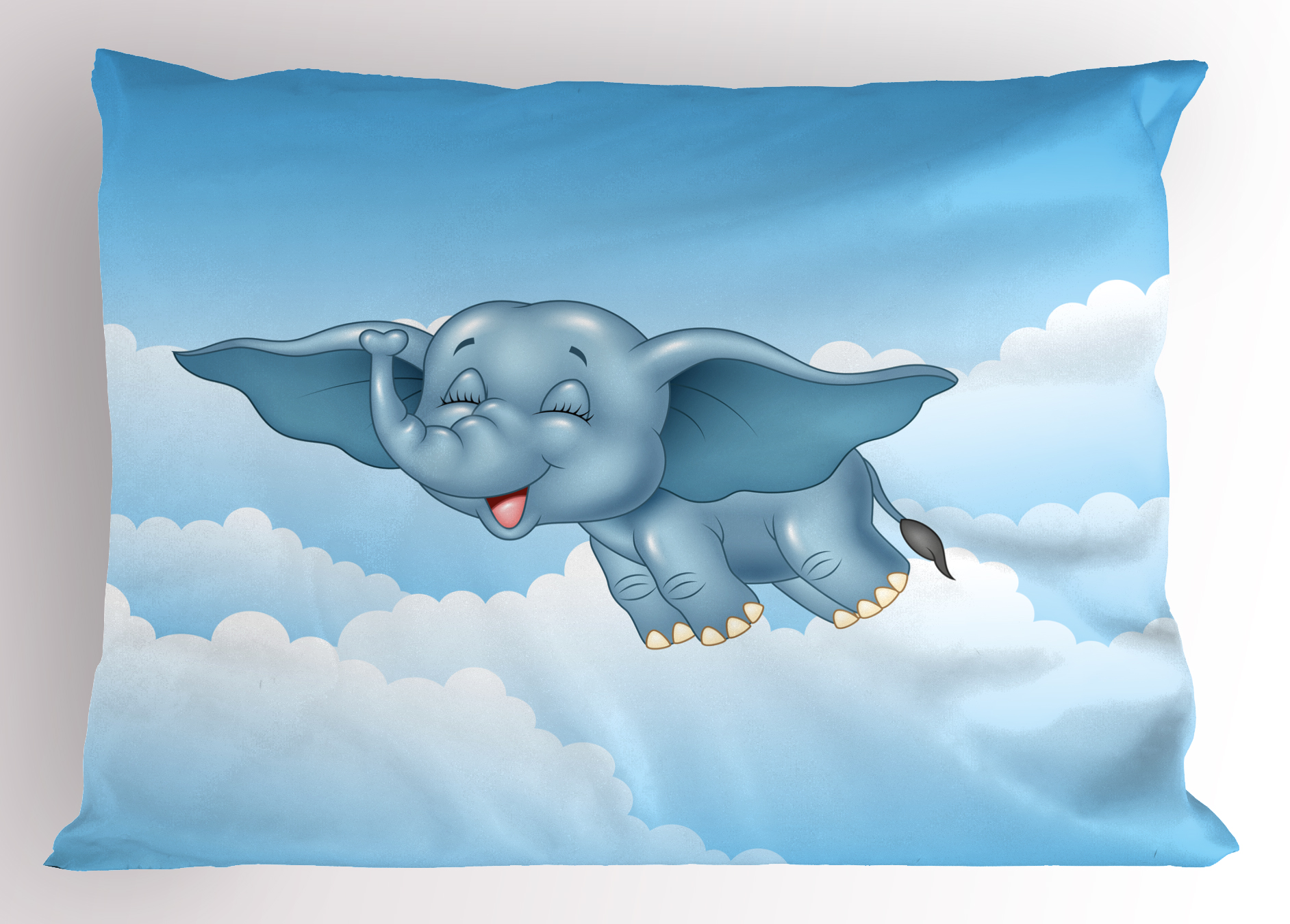 Animal Pillow Sham Cute Baby Flying Elephant Clouds Comic