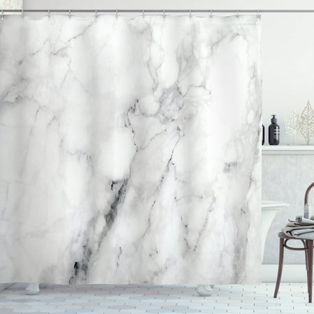 Marble Shower Curtain, Marble Surface Pattern with Cracked Lines and Hazy Stripes Artistic Display, Fabric Bathroom Set with Hooks, Grey Dust White, by Ambesonne