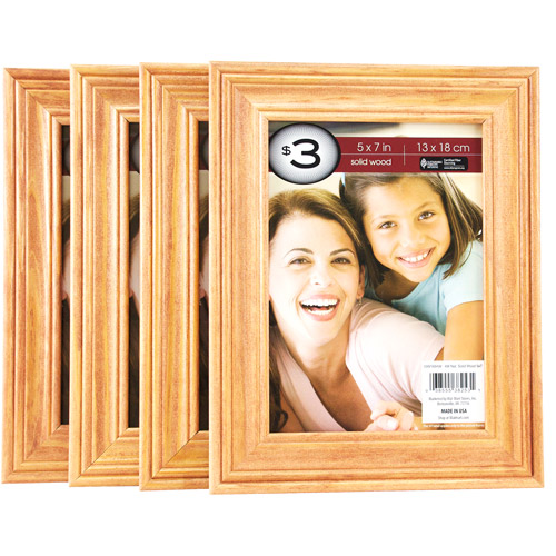 "Natural Solid Wood Frame, 5"" x 7"""