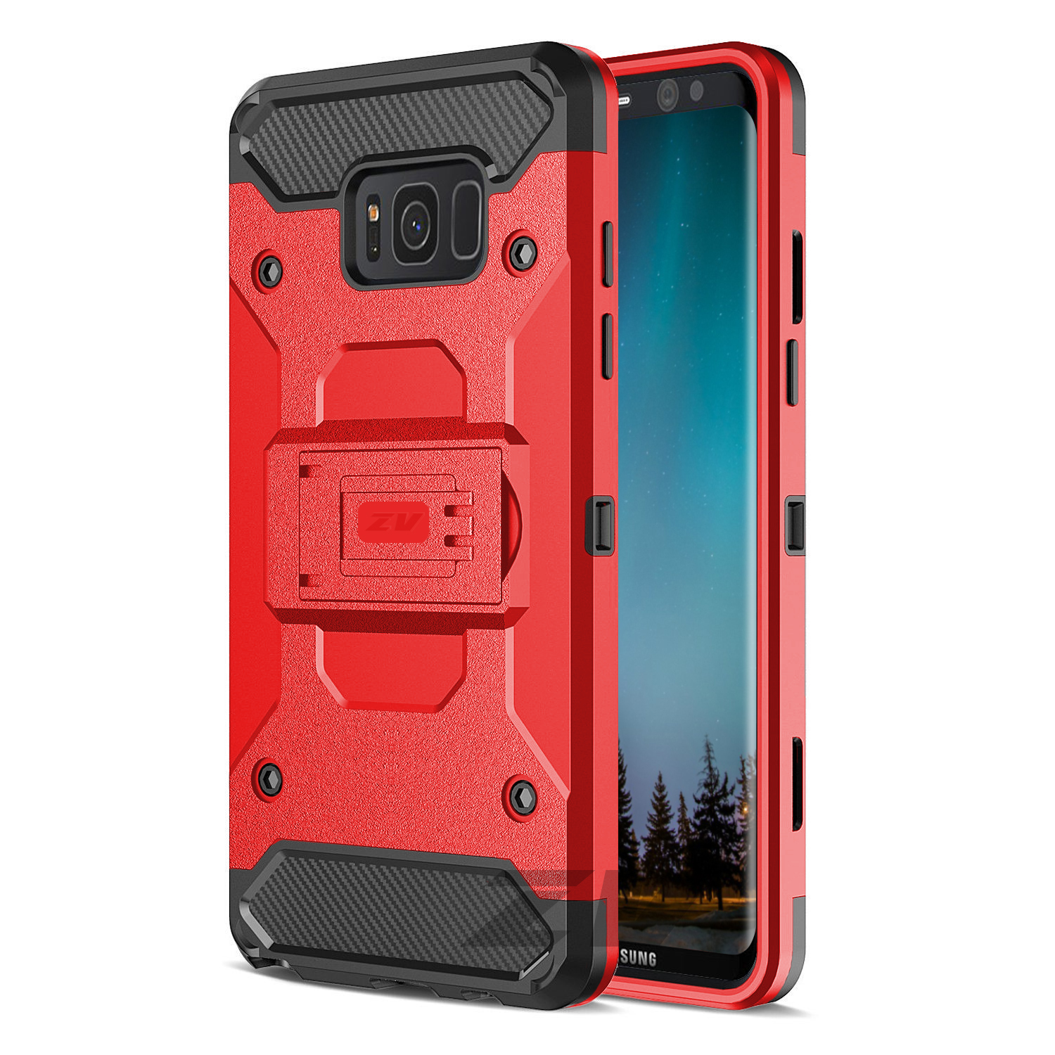 Samsung Galaxy S8/S8 Plus Case, Zizo Tough Armor Cover w/ Holster and Kickstand