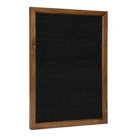 Kate and Laurel Hogan Transitional Wood Framed Fabric Pinboard, 20 x 26 Inches, Walnut Finish and Black