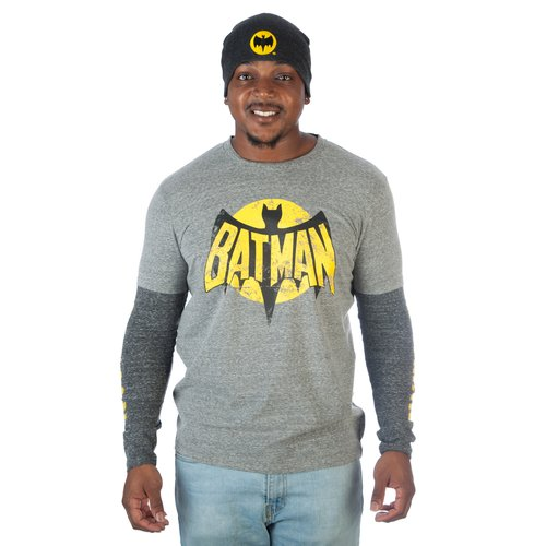 DC Comics Men's Vintage Inspired Batman Twofer Tee and Matching Beanie Combo