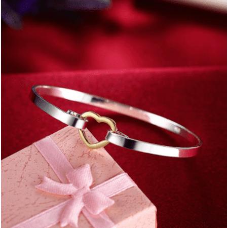 SALE - Heart Two Tone Bangle Bracelet ()