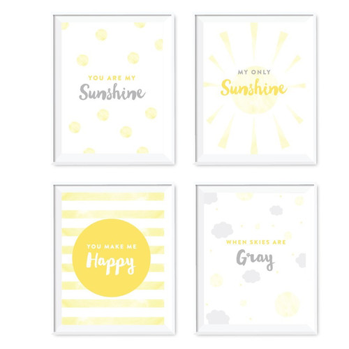 Koyal Wholesale 4 Piece ''You Are My Sunshine'' Nursery Kids Room Paper Print Set