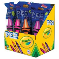 PEZ Candy Crayola Assortment, candy dispenser plus 2 rolls of assorted fruit candy, box of 12