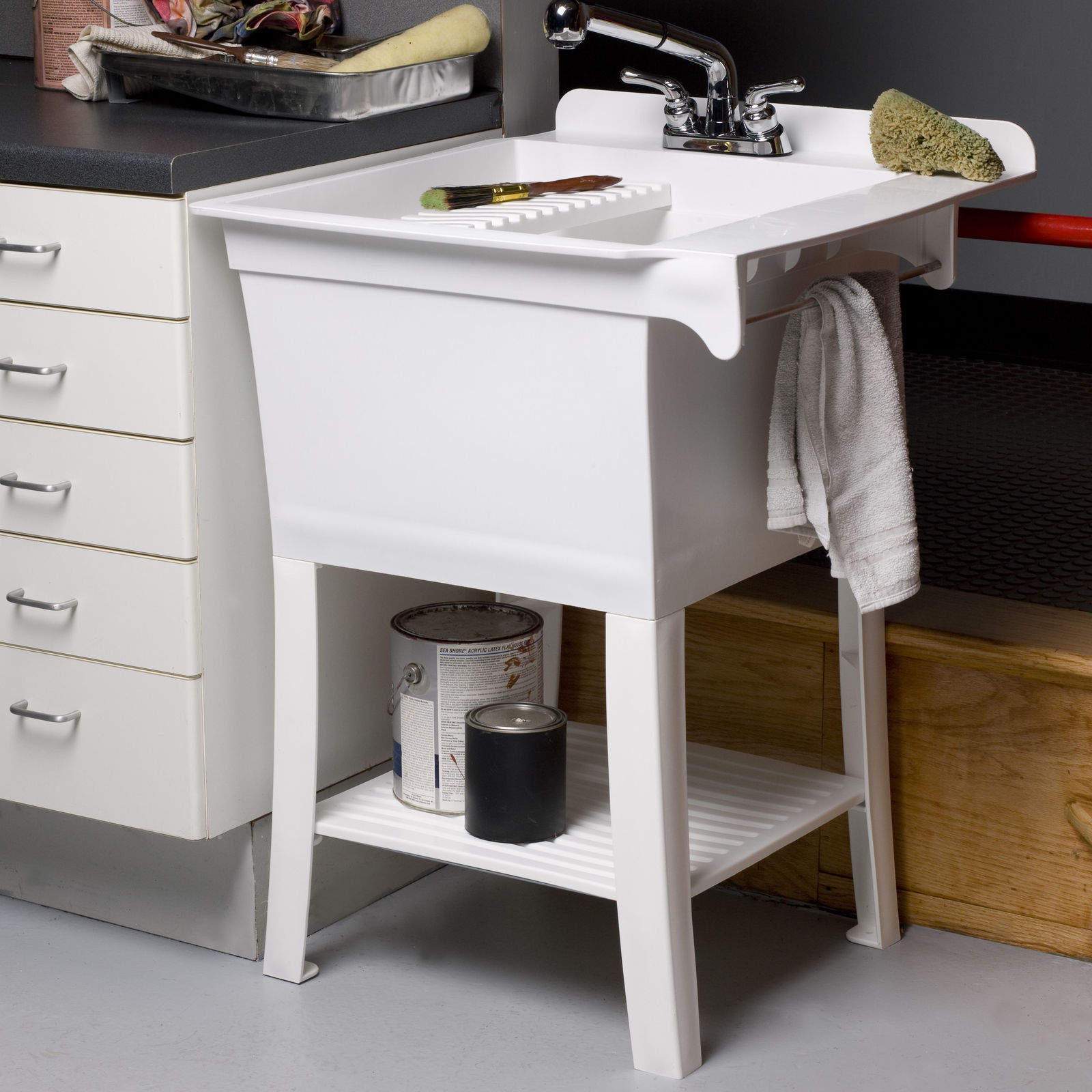 """Cashel Maddox Workstation 24.38"""" x 25.75"""" Freestanding Laundry Sink with Faucet"""