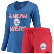 Philadelphia 76ers Concepts Sport Women's Long Sleeve T-Shirt and Shorts Sleep Set - Red/Royal