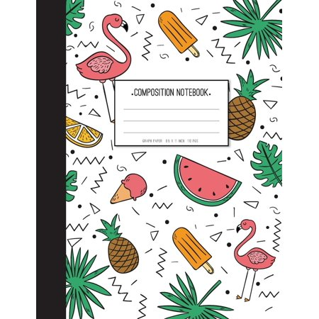 Pink Flamingo with Pineapple in Summer Them - Graph Paper Notebook: Ice Cream and Leaf in Cover Composition Notebook,8.15 X 11 Inch,110 Page - Composition Books Bulk