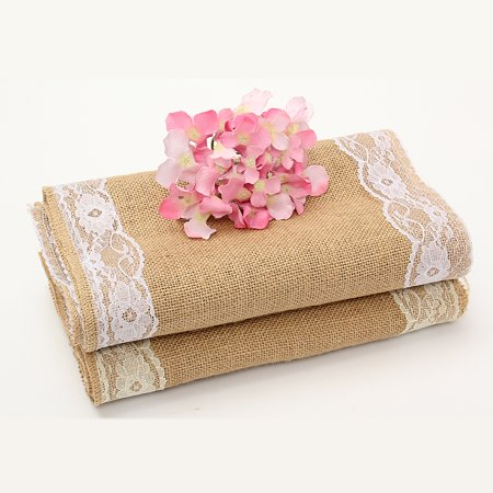 Bridal Party Table (Burlap Lace Hessian Table Runner,280x30cm Rustic Natural Jute Country Wedding Party Bridal Shower Babe Shower Dining Table Decoration and Crafts! )