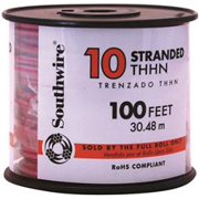 Southwire Simpull Thhn, 10 Gauge Thhn Stranded Wire, Red, 100 Ft. Per Roll