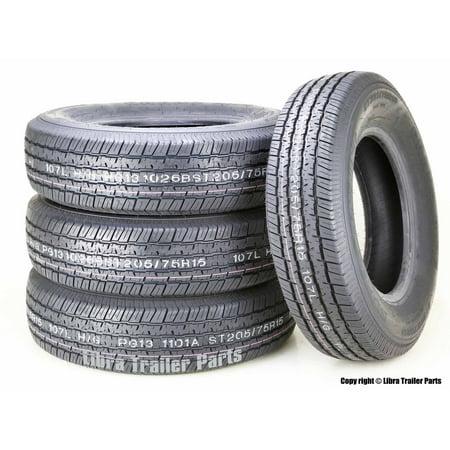 Set 4 Premium Grand Ride Trailer Tires ST205/75R15 8PR Load Range D Steel Belted Radial