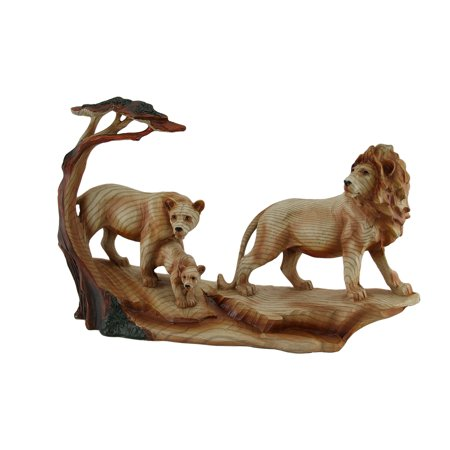 African Lion Family Carved Wood Look Resin Statue Carved Ganesh Statue