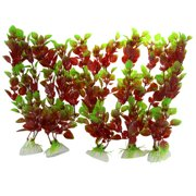 Unique Bargains 10 Pcs Green Maroon Artifical Grass Decor for Aquarium Fish Tank