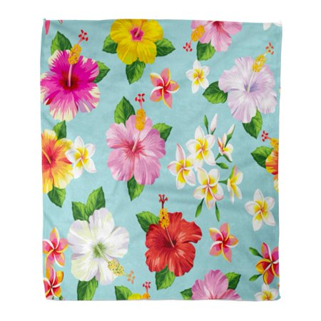 LADDKE Throw Blanket 58x80 Inches Blue Hawaiian with Tropical Flowers Green Hibiscus Aloha Beach Bloom Blooming Warm Flannel Soft Blanket for Couch Sofa Bed
