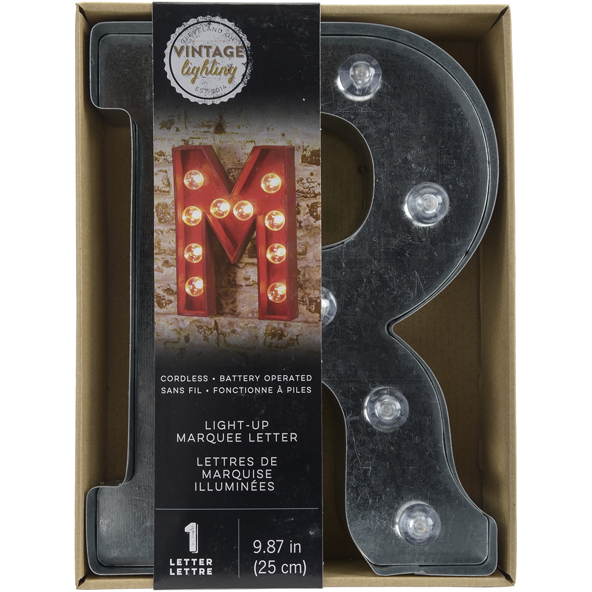 "Silver Metal Marquee Letter 9.875""-R"