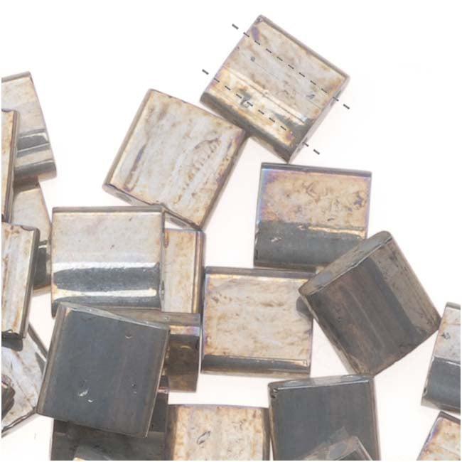 Miyuki Tila 2 Hole Square Beads 5mm 'Galvanized Grey Luster' 7.2 Grams