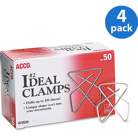 """(4 Pack) ACCO Ideal Clamps, Metal Wire, Small, 1 1/2"""", Silver, 50/Box -ACC72620"""