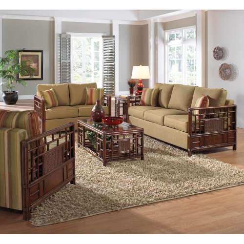 Hospitality Rattan Padre Island Upholstered Rattan & Wicker 5 Piece Deep Seating Conversation Set with Cushions - Antique