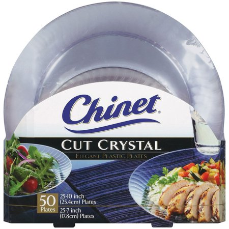 Chinet Cut Crystal Combo Plates 50 ct. 25 dinner plates and 25 desert plates