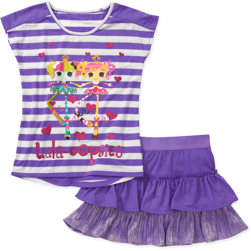Lala Loopsy Girls' 2 Piece Tee and Scooter Set
