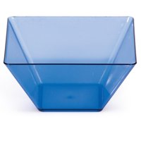 Club Pack of 96 Translucent Blue Plastic Square TrendWare Small Bowls 3.5""