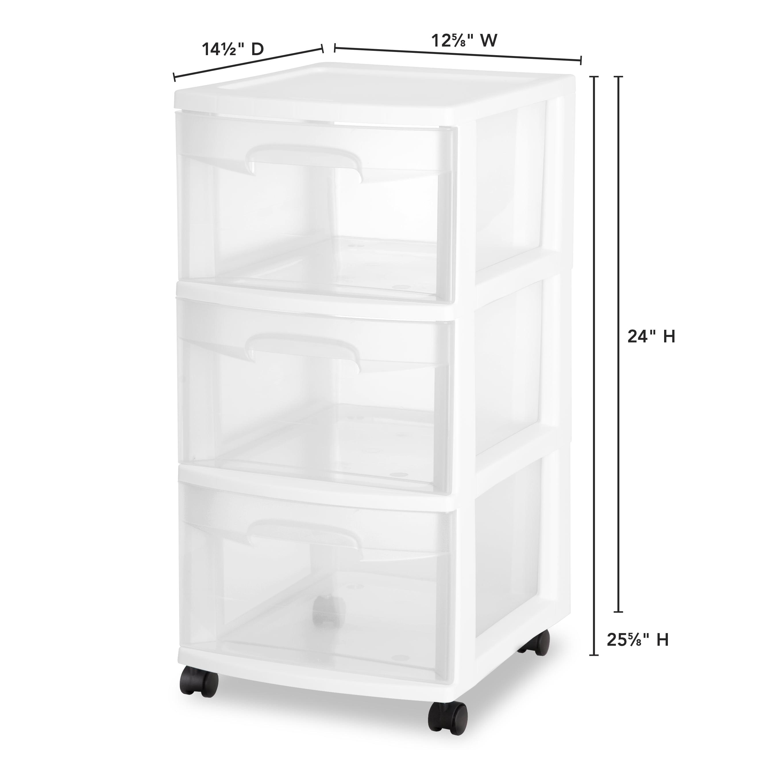 3 Drawer Rolling Organizer Storage Cart Bin Container Set