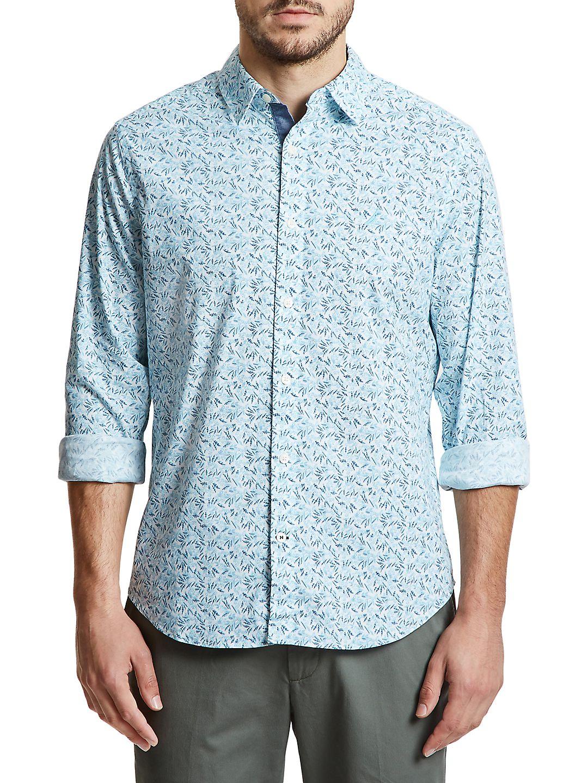 Classic-Fit Tropical Leaf Button-Down Shirt