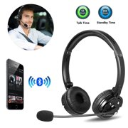 LUXMO Trucker Bluetooth Headset with Noise canceling Microphone, Wireless Bluetooth Headset Over The Head Earpiece for iOS & Android Mobile Phone, Skype, Truck Drivers, Call Center