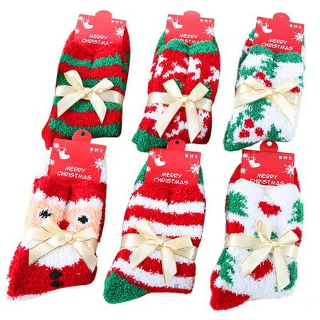Coxeer 6 Pairs Christmas Fuzzy Crew Socks Warm Winter Socks for Women Men