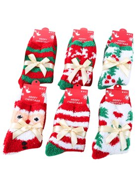 christmas socks coxeer 6 pairs cute christmas stocking winter crew socks for women girls - Walmart Christmas Socks