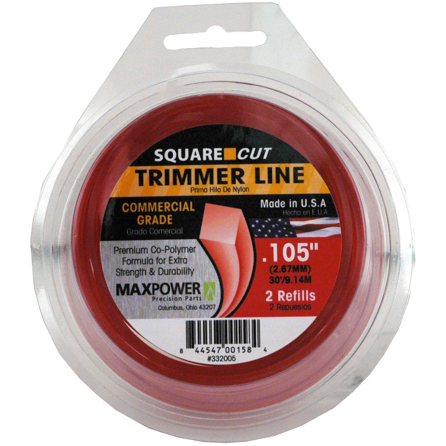 "Maxpower 332005 .105"" x 30' Square One Trimmer Line"