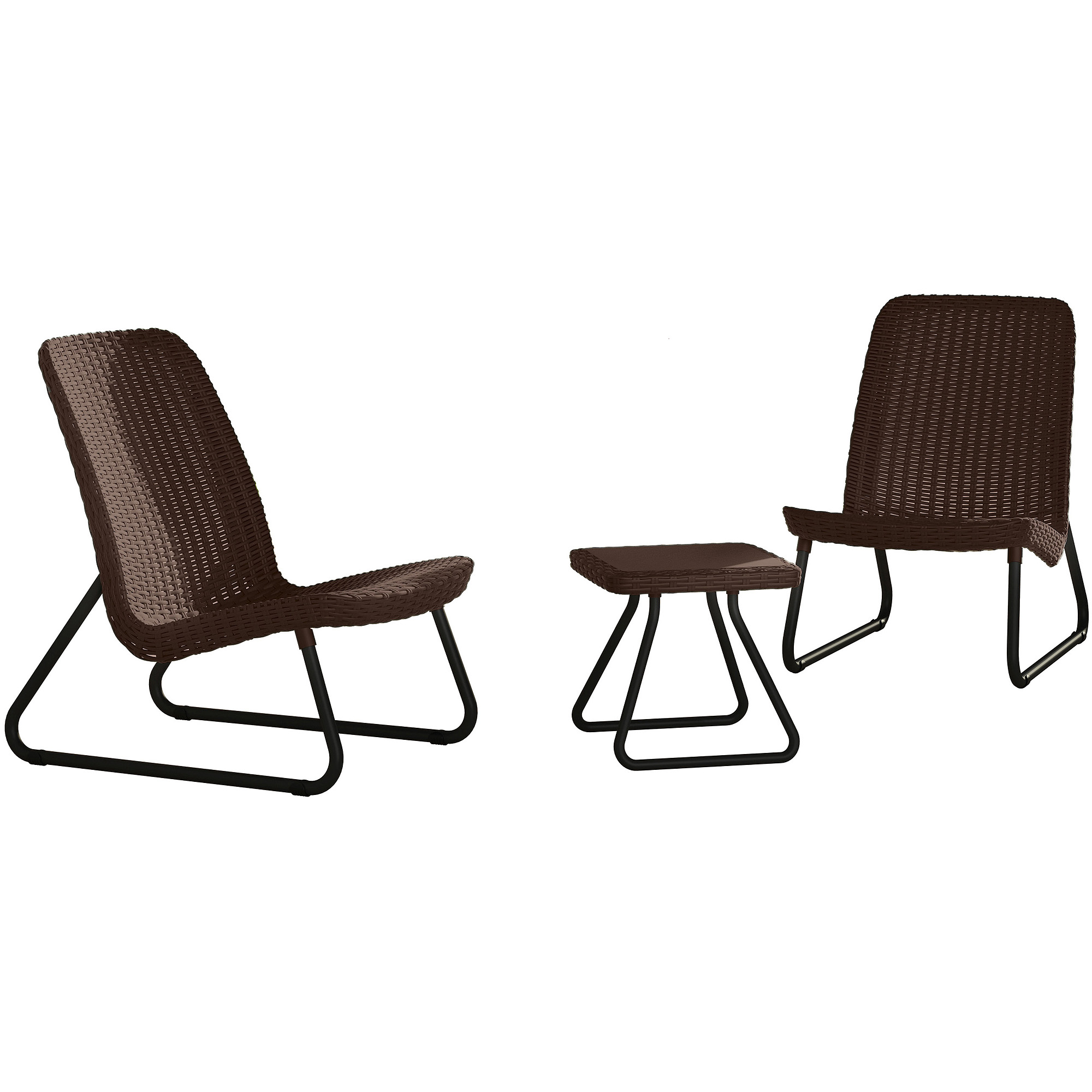 Keter Rio Resin 3-Piece Conversation Set, All-Weather Plastic Patio Lounge Furniture, Brown Rattan