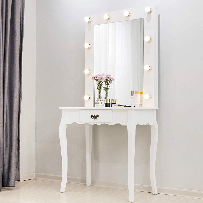 Zimtown White Vanity Set Makeup Dressing Table With 10 Warm Led Lights Makeup Mirror Drawer For Bedroom White Walmart Com Walmart Com