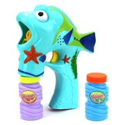 Seashore Fun Fish Battery Operated Toy Bubble Blowing Gun w/ 2 Bottles of Bubble Liquid