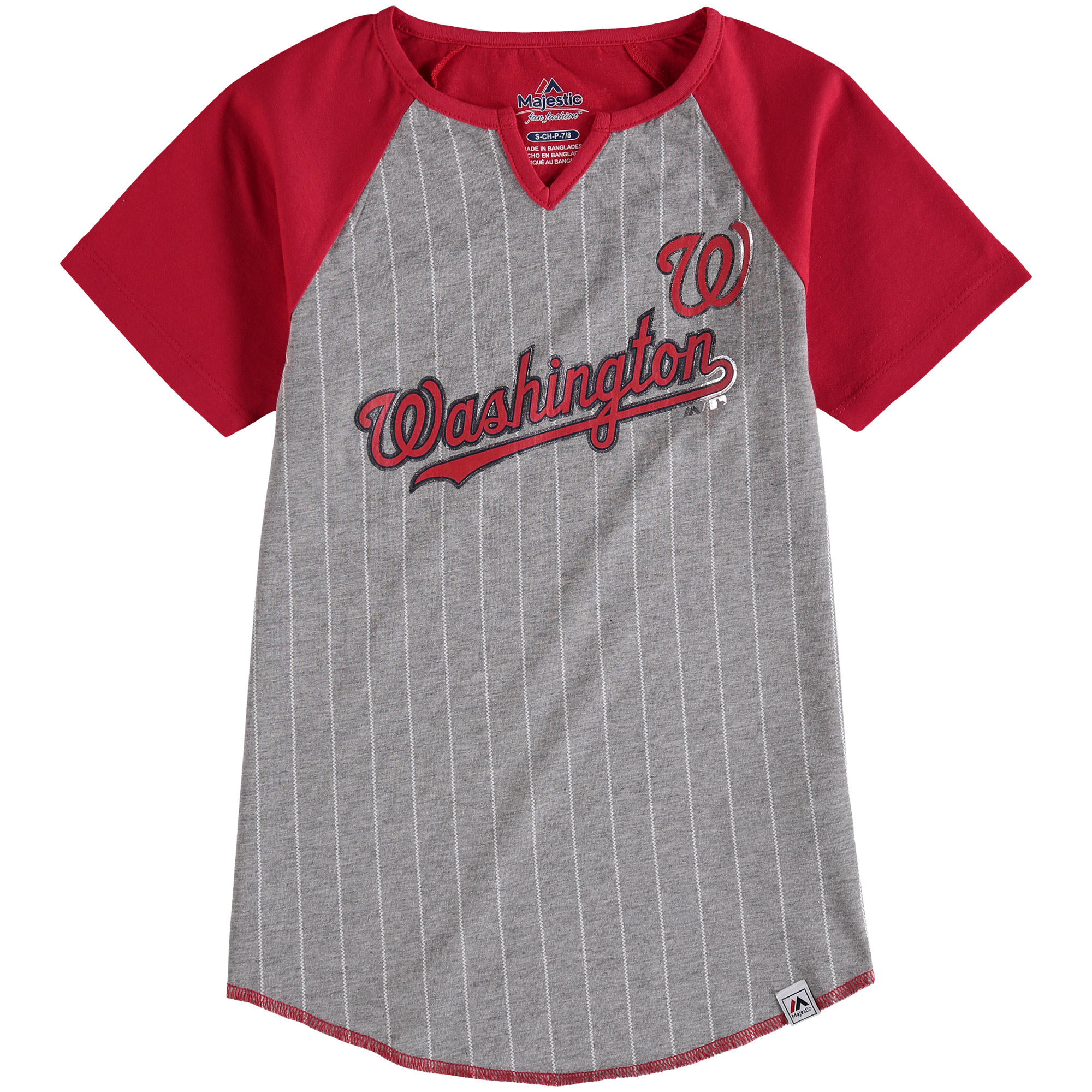 Girls Youth Majestic Gray Washington Nationals From the Stretch Notch Neck T-Shirt