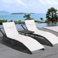 Walnew 3 PCS Patio Furniture Outdoor Patio Lounge Chair Adjustable Folding Lawn Poolside Chaise Lounge Chair PE Rattan Patio Seating with Folding Table and Beige Cushion