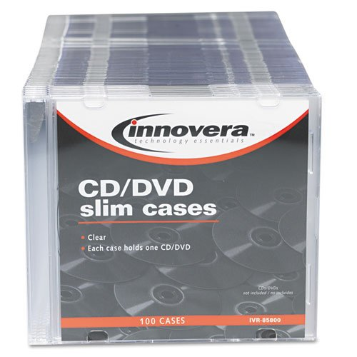 85800 CD/DVD Polystyrene Thin Line Storage Case Clear 100/Pack, Manufacturer: Innovera By Innovera