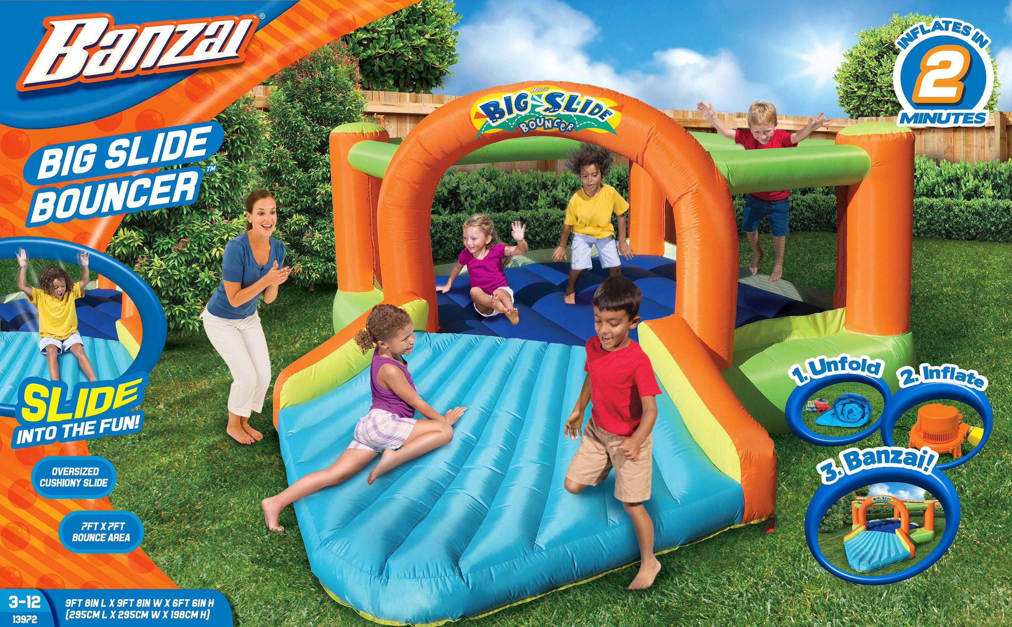 Banzai Big Slide Bouncer (Inflatable Jumping Bounce House Backyard Summer Bouncing Jump Castle) by Banzai