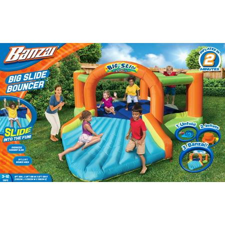 Banzai Big Slide Bouncer (Inflatable Jumping Bounce House Backyard Summer Bouncing Jump Castle)