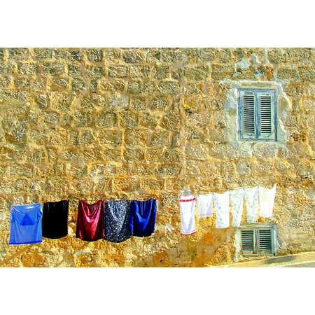 LAMINATED POSTER Washing Day Washing Mediterranean Scene Poster Print 24 x 36