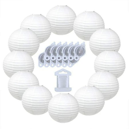 Just Artifacts 12inch Paper Lanterns 10pcs w/ 12pc LED Lights and Clear String (Color: White) - Fish Paper Lanterns