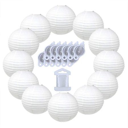 Just Artifacts 12inch Paper Lanterns 10pcs w/ 12pc LED Lights and Clear String (Color: White) (Lanterns Paper)