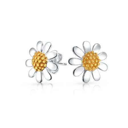 Daisy Flower Tiny Stud Earrings For Women For Teen Tone 14K Gold Plated 925 Sterling Silver 10 -