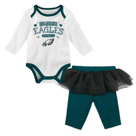 Girls Newborn & Infant White/Midnight Green Philadelphia Eagles Tulle Long Sleeve Bodysuit & Pants Set