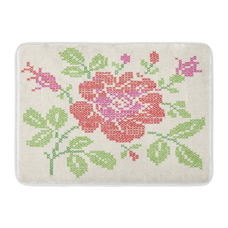 GODPOK Red Folk Green Floral Imitation of The Vintage with Embroidery Rose Ornate Cross Stitch Pink Ethnic Rug Doormat Bath Mat 23.6x15.7 inch